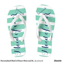 c123f8535fa7b9 Personalized Maid of Honor Navy and Mint Flip Flops Mint Blue Weddings