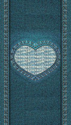 Denim Love Heart iPhone wallpaper background lockscreen