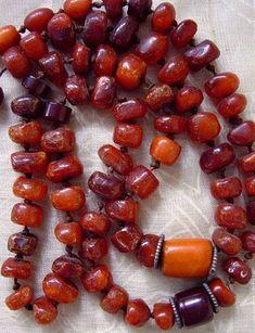 Antique Naga natural amber beads necklace. India / Myanmar / Burma.
