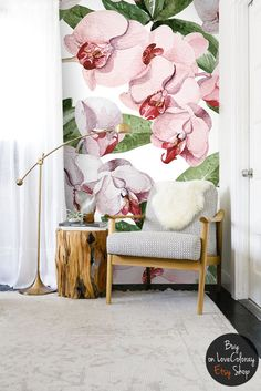 Orchid plant Floral Wallpapper, Flower wall decal, Watercolor wall mural – Peel and Stick, Self adhesive, reusable, temporary wallpapers  #3
