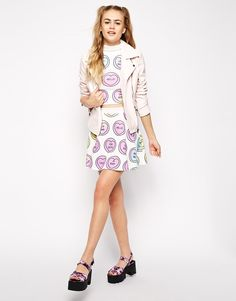 Ichiban Mini Skater Skirt With All Over Love Heart Print Co-ord