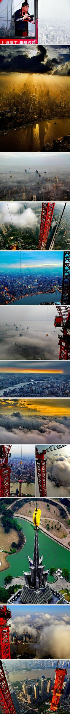 While working on the second tallest building in the world, professional crane operator Wei Gensheng decided to take some pictures from above. Little did he know these photos from Shanghai Tower would make him the most famous crane operator in the world. He has even won the second prize in Shanghai City Photography Competition.