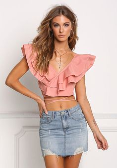 Mauve Layered Ruffle Strappy Crop Top – Crop Tops + Bustiers – Tops – Clothes - All About Blouse Styles, Blouse Designs, Girl Fashion, Fashion Outfits, Womens Fashion, Casual Dresses, Casual Outfits, Strappy Crop Top, Bustier Top