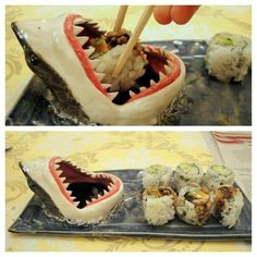 Shark Week is every week! Love this soy sauce dish. Sushi LOLz.