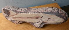 Young sturgeon clay sculpture by Kathleen Scott