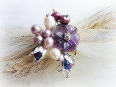 Floral pin brooch gemstones brooch woodland by MalinaCapricciosa