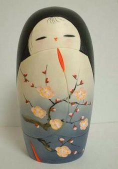 Ume (plum) blossom by Ryouka Aoki Hina Dolls, Kokeshi Dolls, Paper Dolls, Art Dolls, Momiji Doll, Hina Matsuri, Japanese Art, Japanese Things, Japanese Doll