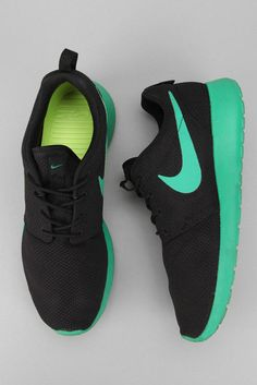 Nike Women's black lime green mint roshes hype shoes