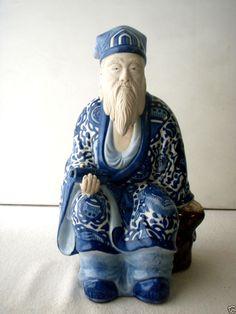 "LARGE Blue & White Andrea by Sadek Asian Oriental God Figurine Man 12"" RARE"