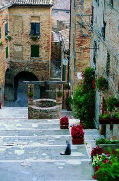 Corinaldo, old town center, province of Ancona , Marche region Italy