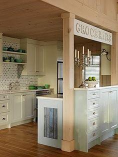 "Sarah Richardson Design - Sarah's Cottage - Kitchen Loving the ""Groceries"" sign! Galley Kitchen Redo, New Kitchen, Kitchen Remodel, Kitchen Dining, Kitchen Ideas, Kitchen Post, Space Kitchen, Basement Kitchen, Awesome Kitchen"