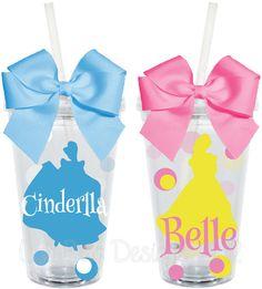 TUMBLER Cinderella Belle Beauty and the Beast Disney by LylaBugDesigns, $15.00