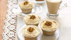 Make afternoon tea special with these palely pretty cakes topped with crunchy walnuts using a recipe from Mary Berry Dairy Free Frosting, Frosting Recipes, Cupcake Recipes, Baking Recipes, Mary Berry, Baking Cupcakes, Cupcake Cakes, Cupcake Frosting, Coffee And Walnut Cupcakes