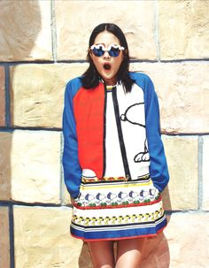 FAY for SINGLES - 2014. Women's Spring - Summer 2014 collection - Bomber Jacket and Dress.