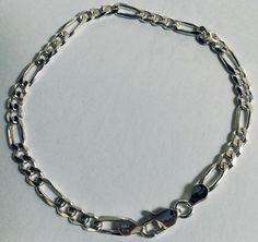 Lovely new Vintage style figaro Link 925 Sterling Silver Bracelet long Vintage Men, Vintage Style, Bracelet Designs, Link Bracelets, Sterling Silver Bracelets, Pjs, My Ebay, Medical, Chain