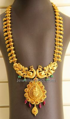 Jewellery Designs: Kirtilals Regal Peacock Haram by maribel Indian Jewellery Design, Latest Jewellery, Jewelry Design, Pendant Jewelry, Gold Jewelry, Jewelery, Antique Jewelry, Jewelry Sets, Mango Necklace