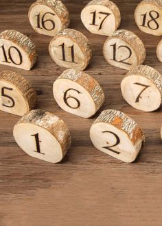 Set of 20 Natural Wood Slice Table Numbers - Wide Incorporate these natural burnt wood table numbers in your rustic wedding decorations. Winter Wedding Decorations, Wedding Themes, Rustic Table Decorations, Decoration Party, Rustic Wedding Centerpieces, Wood Slices For Centerpieces, Centerpiece Ideas, Rustic Wedding Table Decorations, Tree Themed Wedding