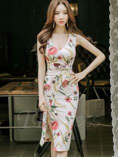 TBDress - TBDress V Neck Floral Side Split Womens Sheath Dress - AdoreWe.com