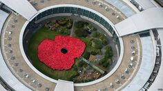 To launch this year's Royal British Legion Gloucestershire County Poppy Appeal, around 1400 GCHQ staff, both civilian and military, worked together to create a giant poppy in the centre of the iconic GCHQ 'doughnut' building in Cheltenham. Yesterday News, Remembrance Day Poppy, Royal British Legion, Rain Poncho, Anzac Day, Public Art, Public Spaces, Love Photography, Poppies