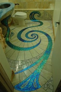 peacock bathroom in iridescent glass and tile. awesome!