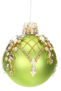 Mark Roberts Christmas Ornaments | King's Jewel Collection | Jeweled Ornaments | Green Ornament | 36-43994