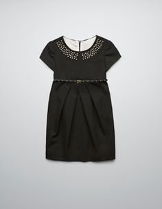 BELTED DRESS WITH STUDDED COLLAR