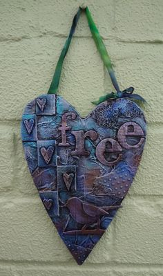 Mixed Media heart shaped Free hanging by LindsayMasondesigns, £11.00