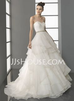 Wedding Dresses - $204.59 - A-Line/Princess Sweetheart Chapel Train Chiffon  Satin Wedding Dresses With Ruffle  Beadwork (002011504) http://jjshouse.com/A-line-Princess-Sweetheart-Chapel-Train-Chiffon--Satin-Wedding-Dresses-With-Ruffle--Beadwork-002011504-g11504