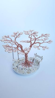 Handmade wire tree with bench and swing Mini Tree Decor Tree