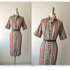 50's Striped Shirtwaist Dress // Vintage by TheVintageStudio