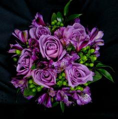 Dramatic Lavendar Roses with Purple Alstromeria and Green Hypericum