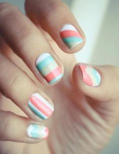 detailed nail art for very short nails - Google Search