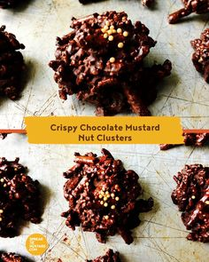 Crispy Chocolate Mustard Nut Clusters - Spread the Mustard Appetizer Recipes, Snack Recipes, Dessert Recipes, Appetizers, Snacks, Desserts, Rub Recipes, Great Recipes, Christmas Baking