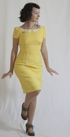 View details for the project Yellow Vintage Wool Dress on BurdaStyle.