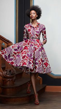 Vintage Style Dress  African Wax Print Dress by CulturalAdornments