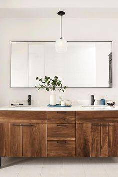 Room & Board - Kenwood Bathroom Vanity Cabinets with Top - Modern Bathroom Vanities - Modern Bath Furniture Schöne einmachglas diy lighter Bathroom Vanity Cabinets, Bathroom Faucets, Bathroom Furniture, Bathroom Interior, Bathroom Beadboard, Bathroom Mirrors, Bathroom Hardware, Wooden Bathroom Vanity, Bathroom Marble