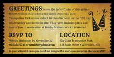 7x3.5 Printable Custom Birthday Golden Ticket Digital File