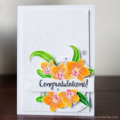 Congratulations; Congrats; Orchid; Zig Clean Colour Brush Pens; Floral; Flower die; Big flower; layered stamping; color layering; stunning; banner