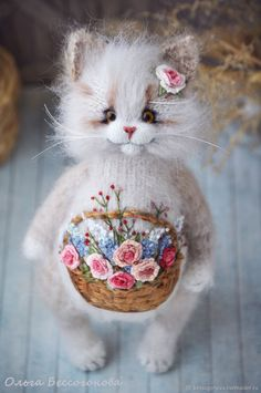 Embroidered cat Basket of happiness – shop online on Livemaster with shipping