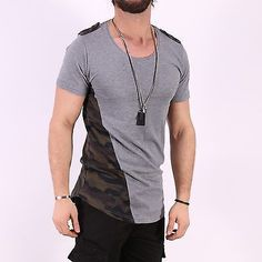 Long T-Shirt Camouflage Patch Fashion Stylish Tee Oversized Slim Fit Cotton 2924