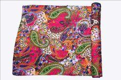 Indian Reversible Kantha Quilt Handmade Queen size Bedspread Throw Paisley Decor #LuckyHandicraft #AntiqueStyle