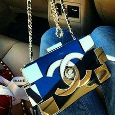 Gold and navy Blue Chanel Bag