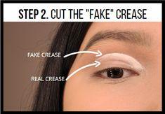 Makeup Eye Looks, Creative Makeup Looks, Eye Makeup Tips, Skin Makeup, Eyeshadow Makeup, Eyeshadows, Makeup Steps, Makeup Tricks, Cut Crease Hooded Eyes
