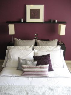 Superieur We Chose A Plum Colored Accent Wall To Compliment The Soft Grey Hues Of Our  Bedding.
