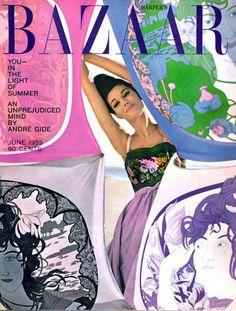 Simone D'Aillencourt on the cover of Harper's Bazaar, June 1959.