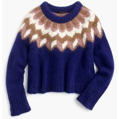 J.Crew Collection Alpaca Fair Isle Sweater (23.025 RUB) ❤ liked on Polyvore featuring tops, sweaters, alpaca sweaters, j crew tops, blue top, fairisle sweater and fair isle sweater