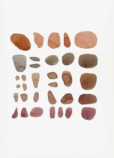 Autumn home decor Original painting watercolor pebbles Beach Finds fall abstract art modern home decor earth tones sepia Brown. $75.00, via Etsy.