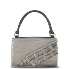 "Cinthia  Gorgeous pewter grey metallic faux leather already makes this Shell a beauty, but a double diagonal tuxedo ruffle really elevates the ""wow"" factor on the Cinthia for Classic Bags. It's a look that says, ""let's go out tonight, honey!"" Need a glam Shell to add to your collection? Cinthia is perfect! #Miche http://mollymccollum.miche.com/"
