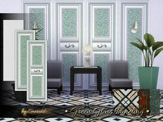 Classic, pure, warm and sophisticated green glass will make your interiors stylish.  Found in TSR Category 'Sims 4 Walls & Floors Sets'