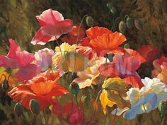 Poppies in Sunshine Art Print by Leon Roulette at Art.com
